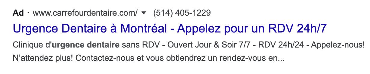 exemple d'annonce sur Google Ads